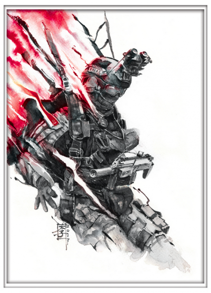 Marc Lee Military Art Singapore SOF (gerahmt)