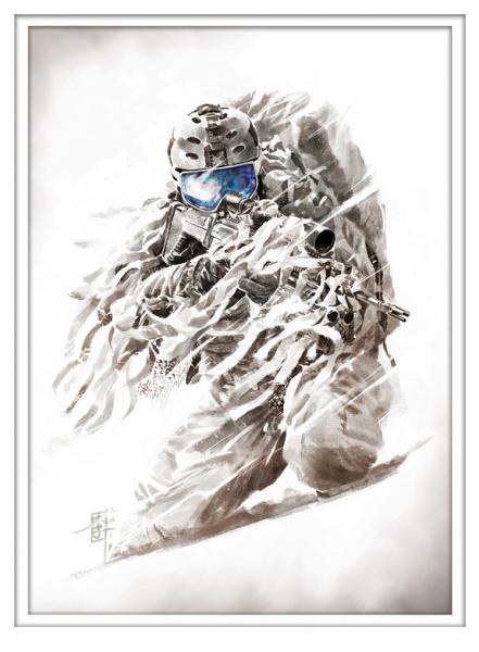 Marc Lee Military Art US Navy snow SEAL (gerahmt)