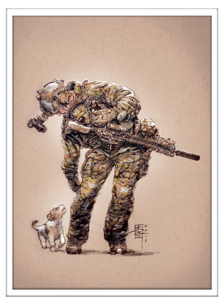 Marc Lee Military Art US Ranger D Dog (gerahmt)