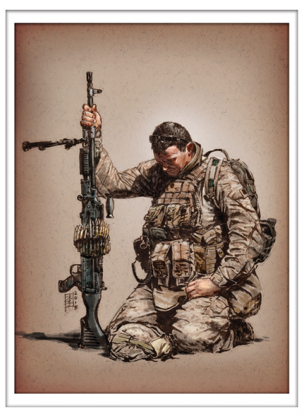 Marc Lee Military Art USMC Gunner Prayer (gerahmt)