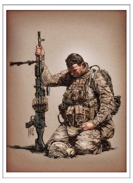 Marc Lee Military Art USMC Gunner Prayer (gerahmt)