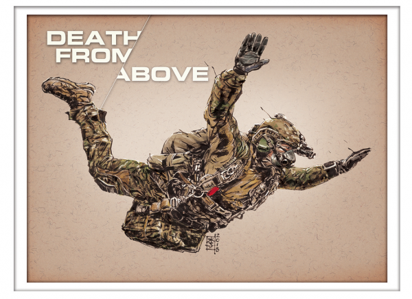 Marc Lee Military Art Death From Above (gerahmt)