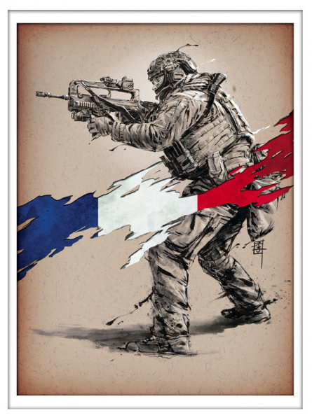 Marc Lee Military Art French RPIMa (gerahmt)