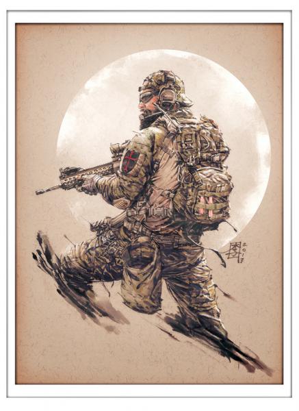 Marc Lee Military Art Blackbeard Actual (gerahmt)