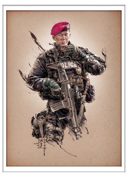 Marc Lee Military Art Singapore Police Special Operations Command (gerahmt)