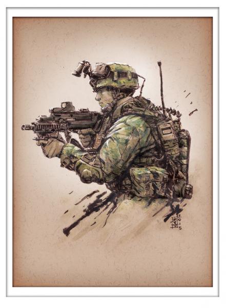 Marc Lee Military Art Singapore next gen infantry (gerahmt)