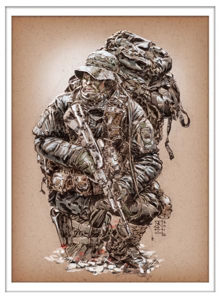 Marc Lee Military Art Austrian Jagdkommando (gerahmt)