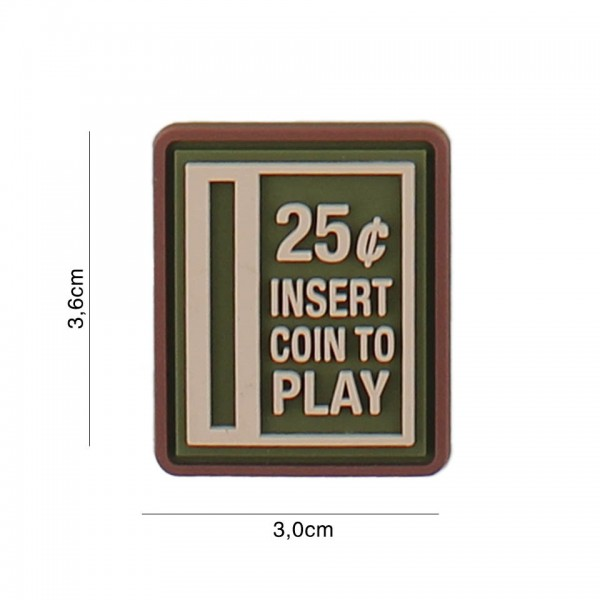 3D PVC insert coin to play Patch