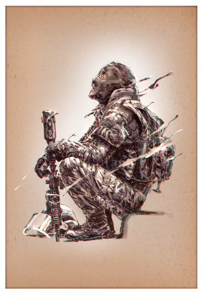 Marc Lee Military Art French GIGN (gerahmt)