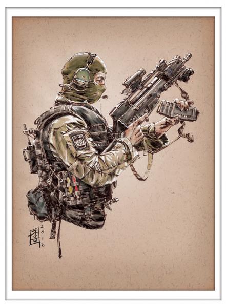 Marc Lee Military Art German SEK (gerahmt)