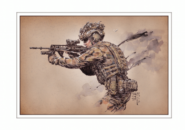Marc Lee Military Art Australian Infantry Regiment (gerahmt)