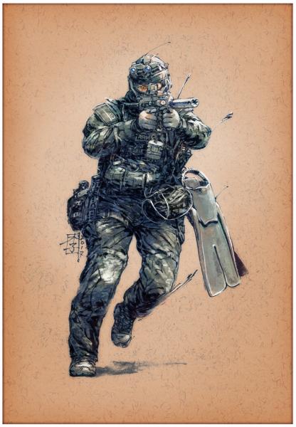 Marc Lee Military Art Singapore SOF (gerahmt)
