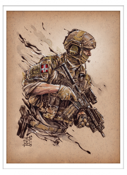 Marc Lee Military Art Norwegian MJK (gerahmt)