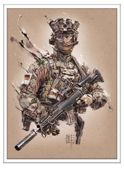 Marc Lee Military Art deutscher Kampfschwimmer (gerahmt)
