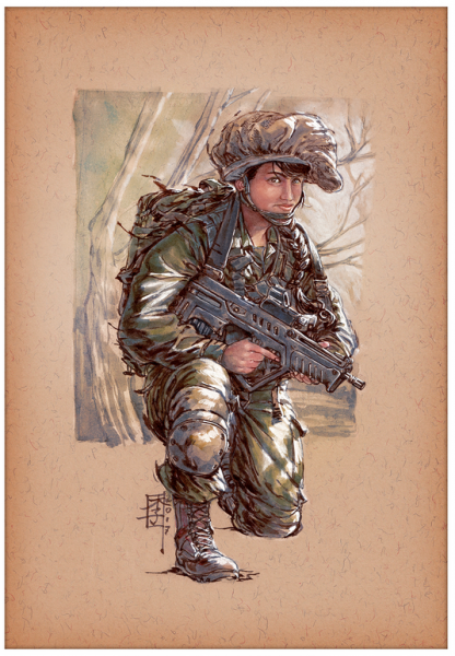 Marc Lee Military Art Israeli Infantry 'Shieldmaiden' (gerahmt)