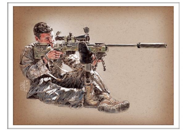 Marc Lee Military Art USMC Sgt Pacheco (gerahmt)