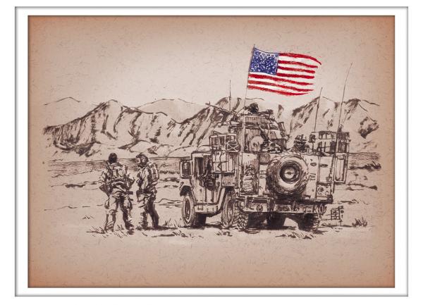 Marc Lee Military Art Old Glory (gerahmt)