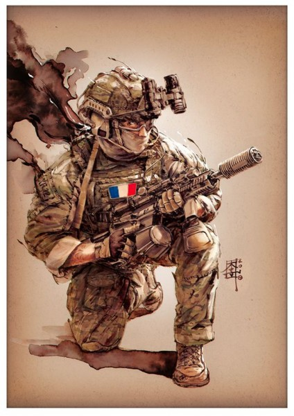 Marc Lee Military Art French SOF (gerahmt)