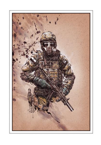 Marc Lee Military Art Polish JWK (gerahmt)