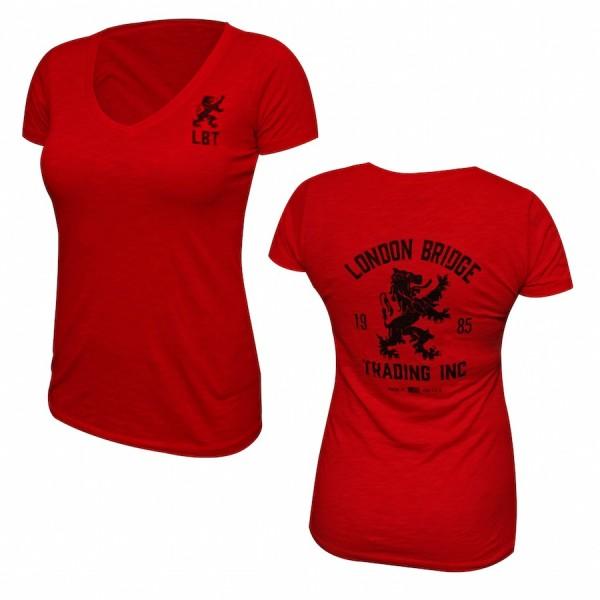 LBT Vintage Rampant Lion Short Sleeve V Neck Frauen T Shirt