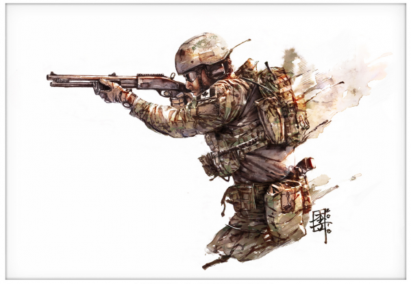 Marc Lee Military Art Canadian CANSOF (gerahmt)