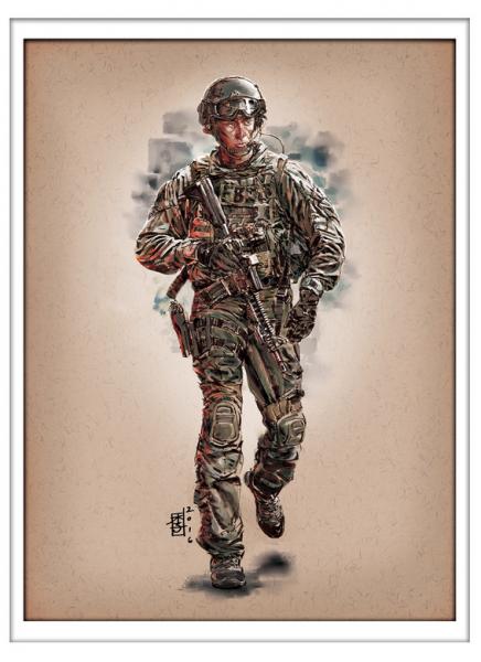 Marc Lee Military Art FBI SWAT (gerahmt)