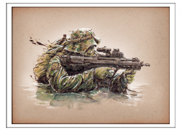Marc Lee Military Art Singapore Guards Recce (gerahmt)