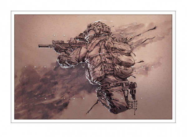 Marc Lee Military Art US Army Rangers Bump in the night (gerahmt)
